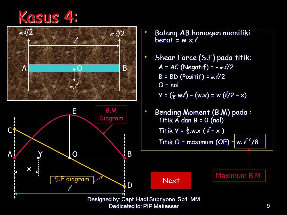 Kasus 4: w.l/2 l w.l l w.l/2 Batang AB homogen memiliki berat = w x l