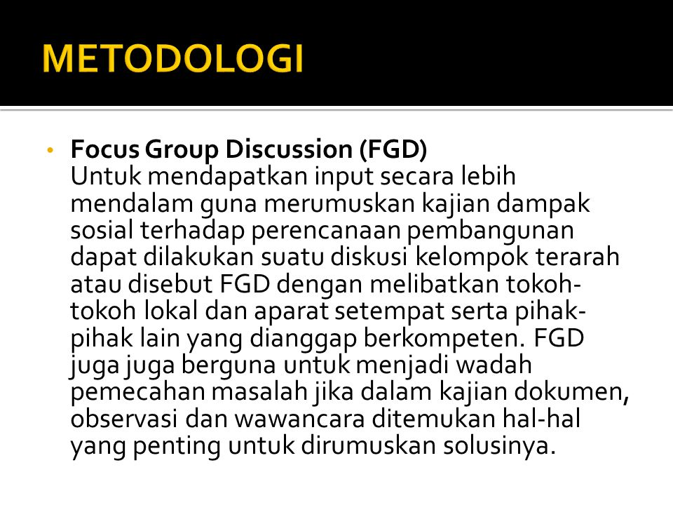 Metodologi Focus Group Discussion (FGD)