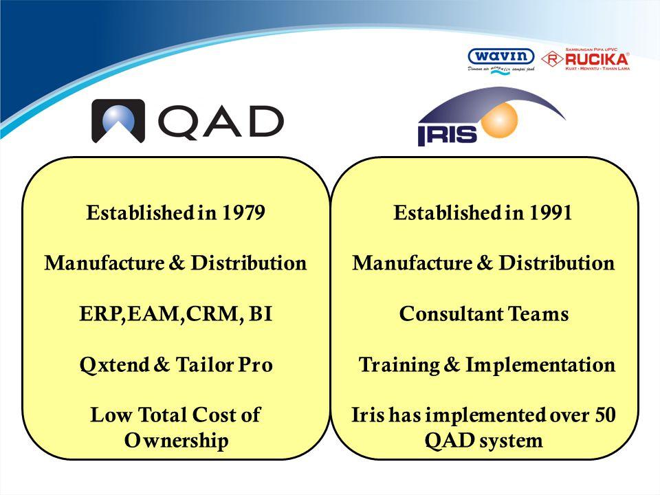 Manufacture & Distribution ERP,EAM,CRM, BI Qxtend & Tailor Pro
