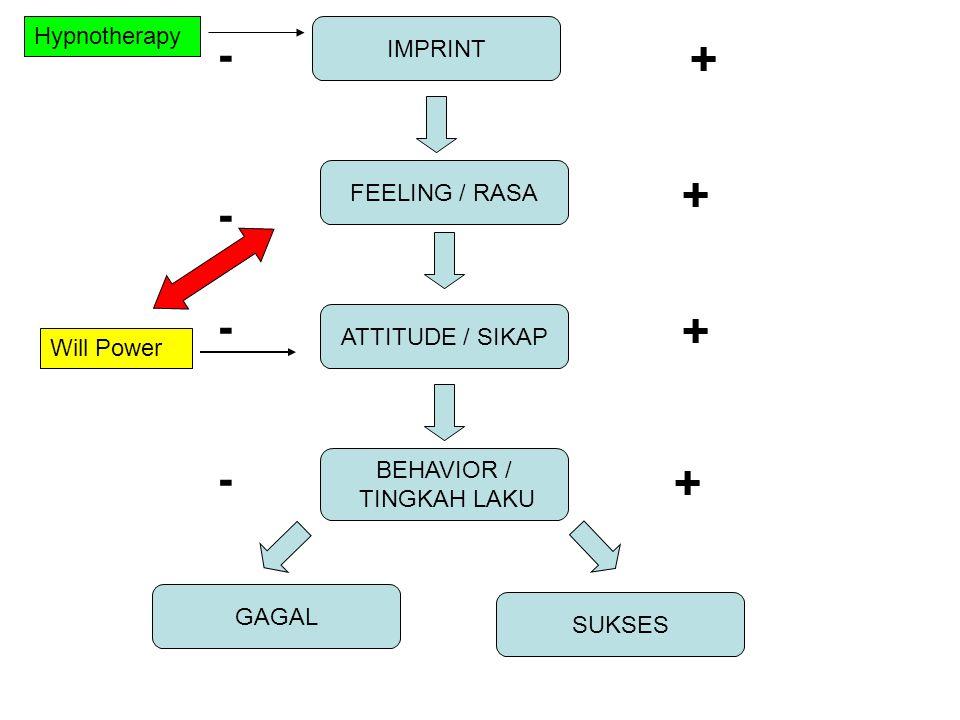 + + + + - - - - Hypnotherapy IMPRINT FEELING / RASA ATTITUDE / SIKAP