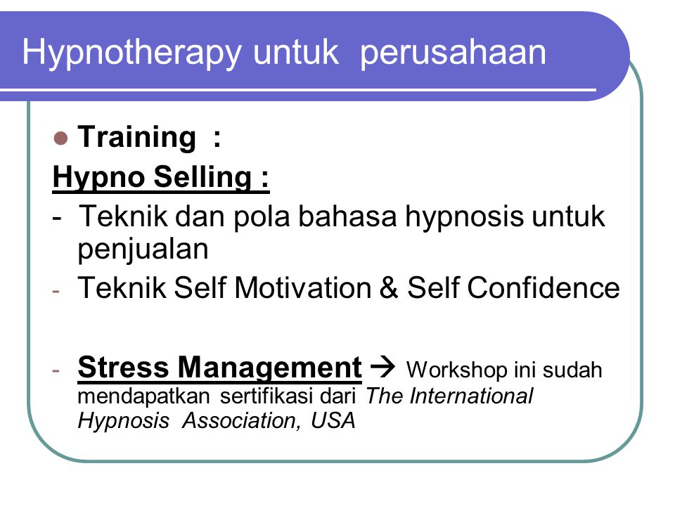Hypnotherapy untuk perusahaan