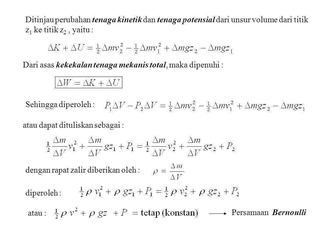 Ditinjau perubahan tenaga kinetik dan tenaga potensial dari unsur volume dari titik z1 ke titik z2 , yaitu :