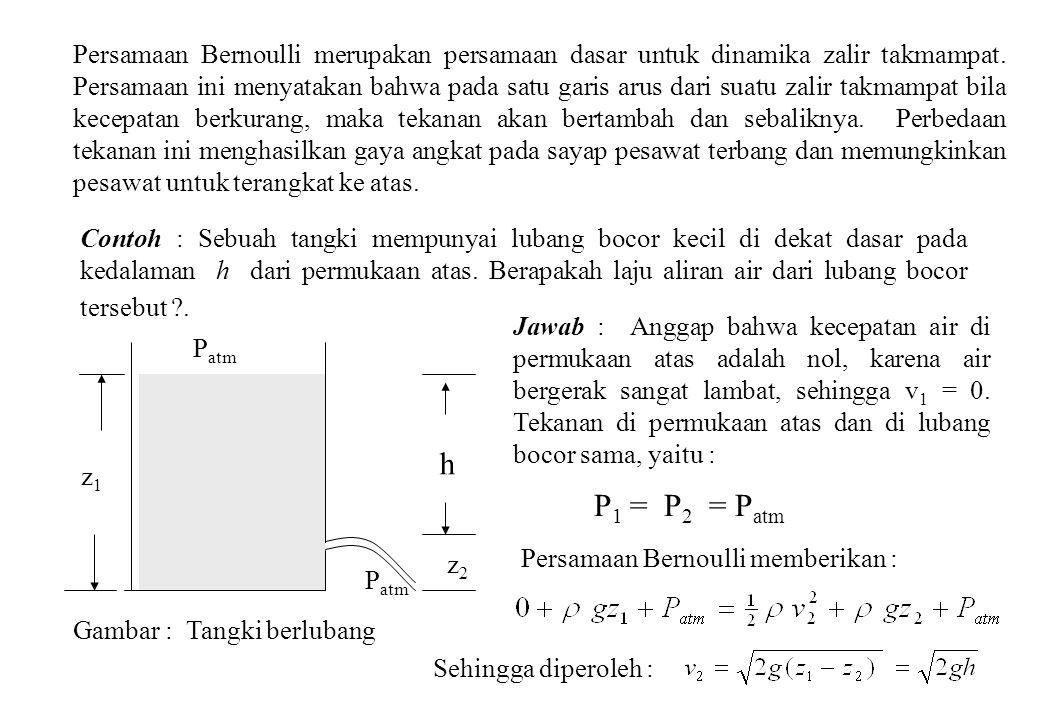 Persamaan Bernoulli merupakan persamaan dasar untuk dinamika zalir takmampat. Persamaan ini menyatakan bahwa pada satu garis arus dari suatu zalir takmampat bila kecepatan berkurang, maka tekanan akan bertambah dan sebaliknya. Perbedaan tekanan ini menghasilkan gaya angkat pada sayap pesawat terbang dan memungkinkan pesawat untuk terangkat ke atas.