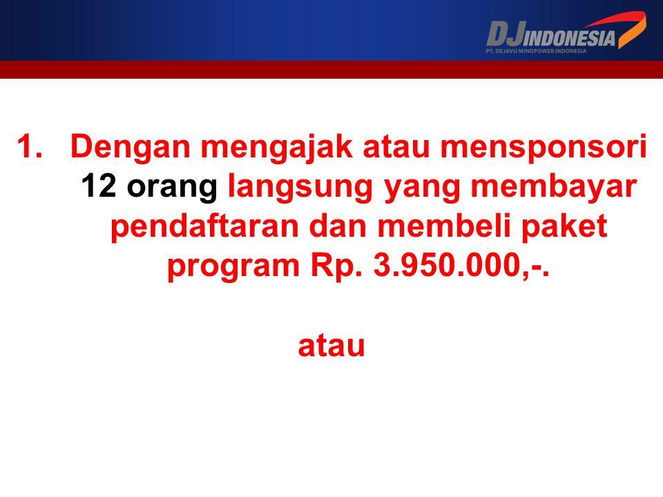 Dengan mengajak atau mensponsori 12 orang langsung yang membayar pendaftaran dan membeli paket program Rp. 3.950.000,-.