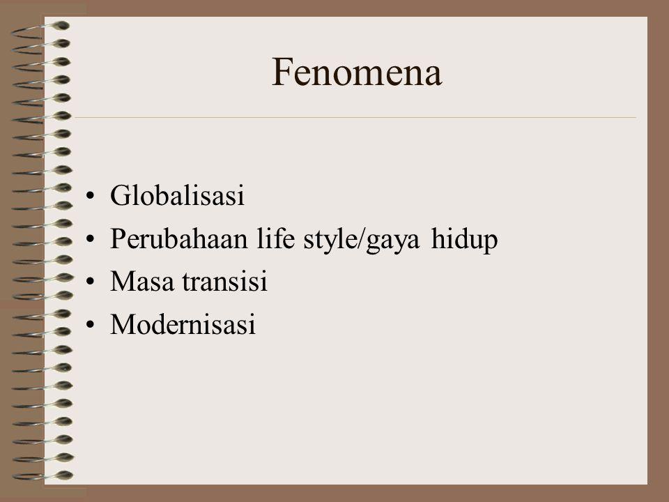 Fenomena Globalisasi Perubahaan life style/gaya hidup Masa transisi