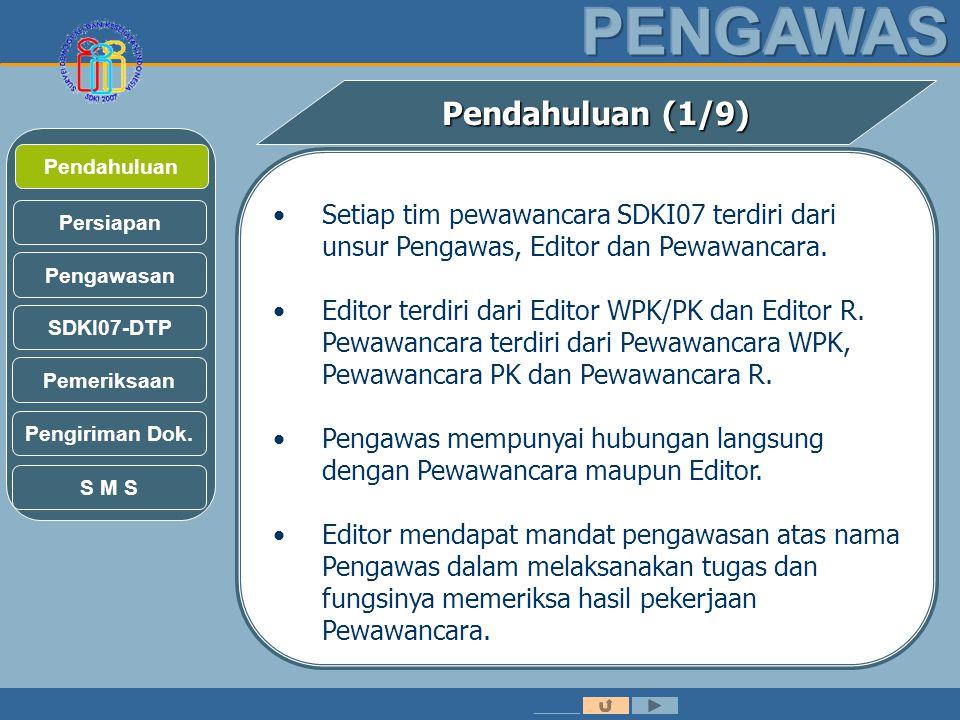 Pendahuluan (1/9) Pendahuluan. Setiap tim pewawancara SDKI07 terdiri dari unsur Pengawas, Editor dan Pewawancara.