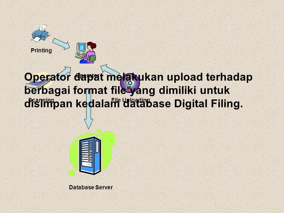 Printing Operator. Operator dapat melakukan upload terhadap berbagai format file yang dimiliki untuk disimpan kedalam database Digital Filing.