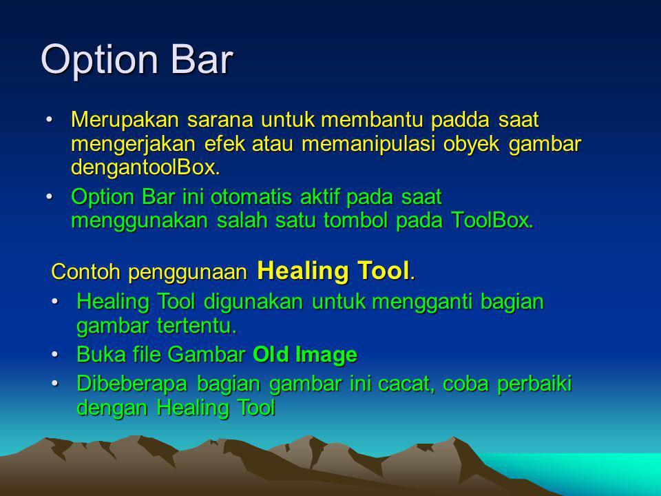 Option Bar Merupakan sarana untuk membantu padda saat mengerjakan efek atau memanipulasi obyek gambar dengantoolBox.