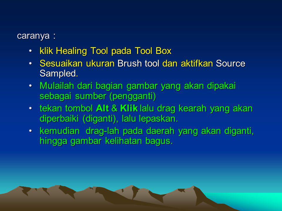 caranya : klik Healing Tool pada Tool Box. Sesuaikan ukuran Brush tool dan aktifkan Source Sampled.