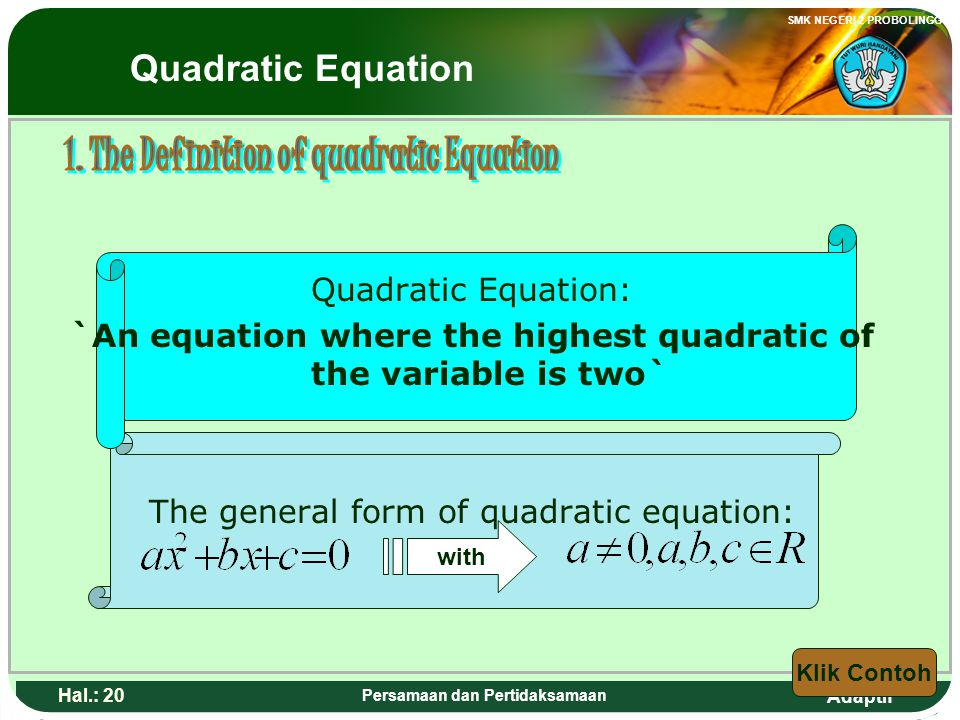 1. The Definition of quadratic Equation
