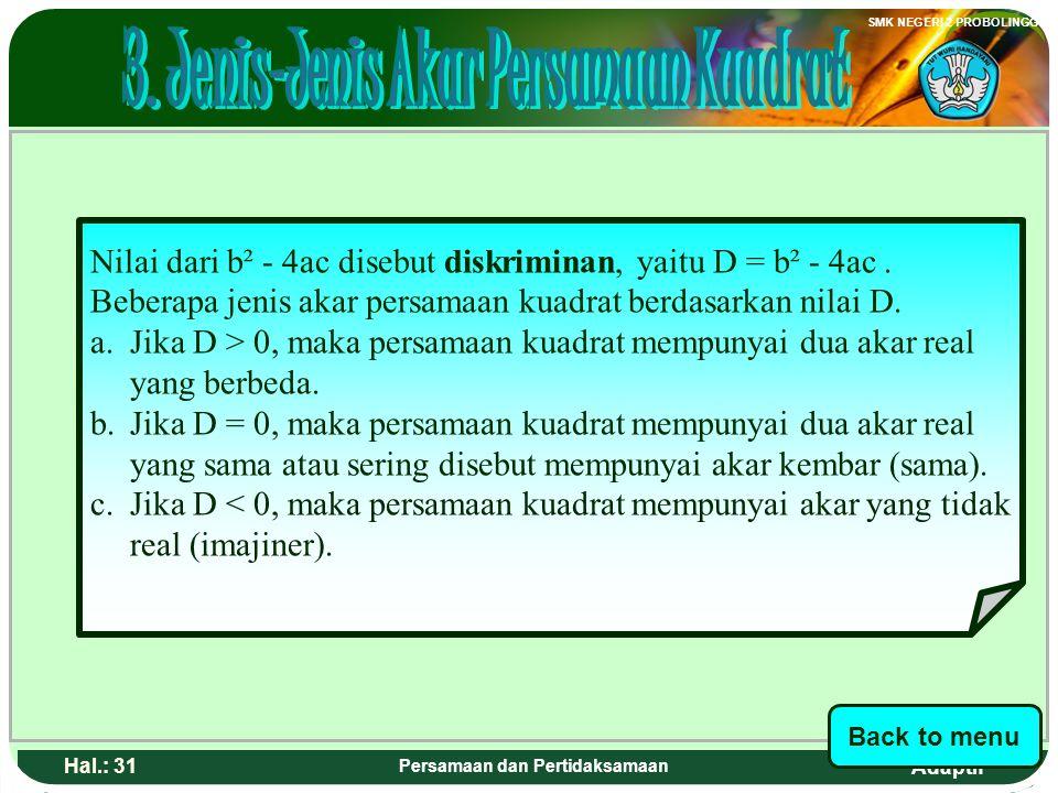 3. Jenis-Jenis Akar Persamaan Kuadrat Persamaan dan Pertidaksamaan
