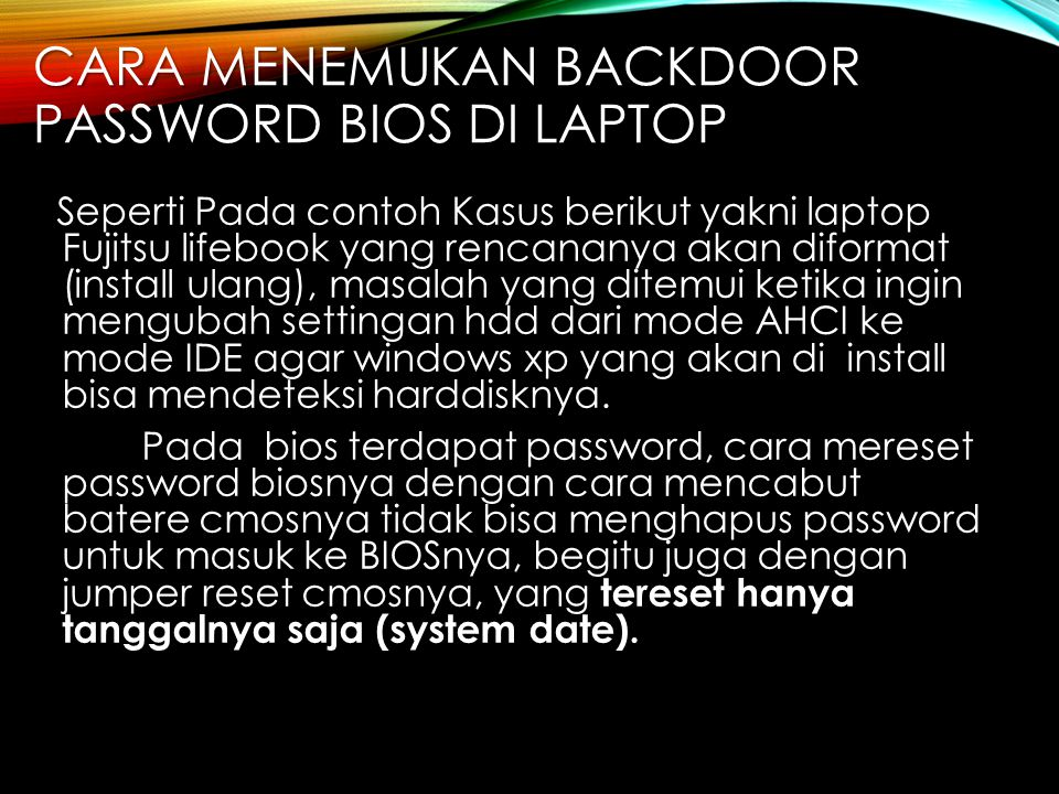 Cara menemukan Backdoor Password BIOS di Laptop