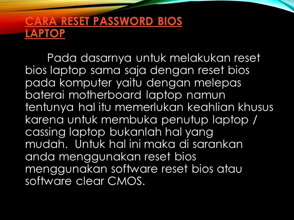 Cara Reset Password BIOS Laptop