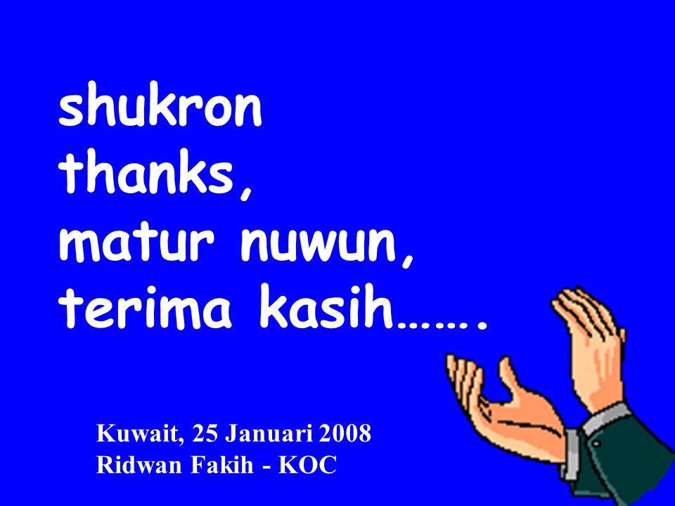 shukron thanks, matur nuwun, terima kasih……. Kuwait, 25 Januari 2008