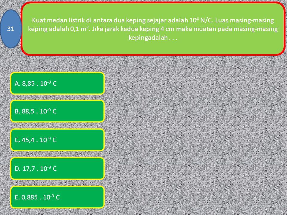 Kuat medan listrik di antara dua keping sejajar adalah 104 N/C