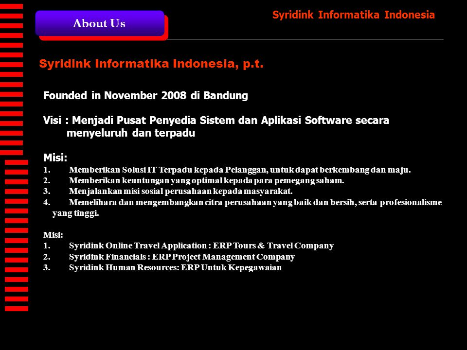 About Us Syridink Informatika Indonesia, p.t.