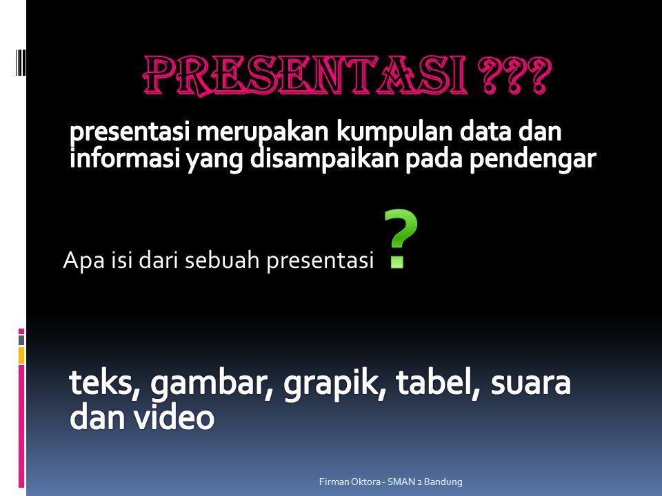 PRESENTASI Apa isi dari sebuah presentasi