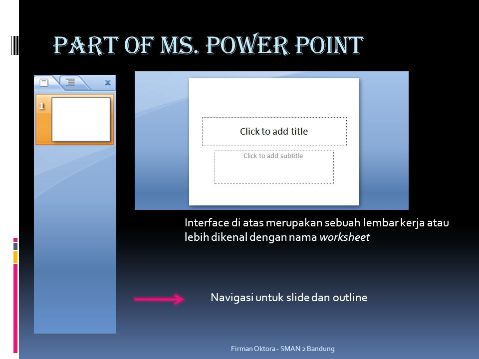 PART OF MS. POWER POINT Interface di atas merupakan sebuah lembar kerja atau lebih dikenal dengan nama worksheet.