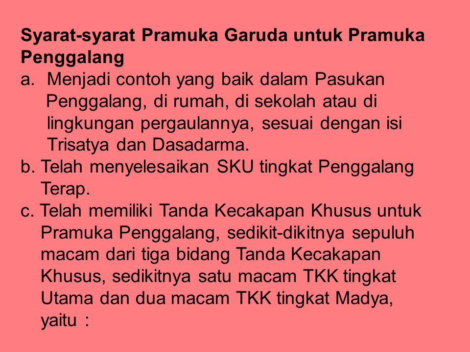 Syarat-syarat Pramuka Garuda untuk Pramuka Penggalang