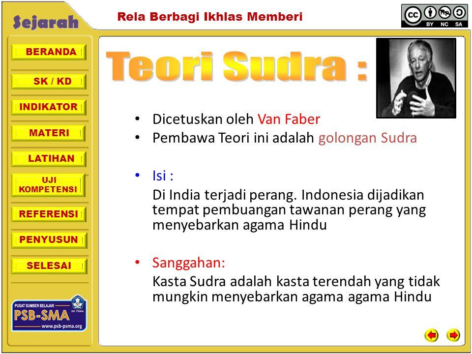 Teori Sudra : Dicetuskan oleh Van Faber
