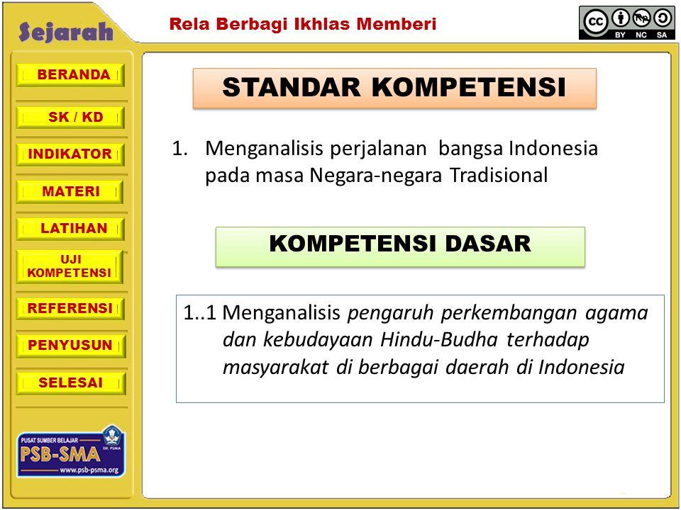 STANDAR KOMPETENSI 1. Menganalisis perjalanan bangsa Indonesia pada masa Negara-negara Tradisional.