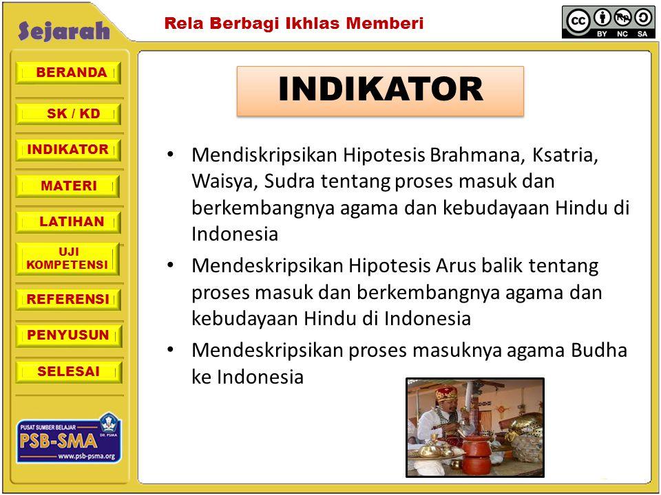 INDIKATOR Mendiskripsikan Hipotesis Brahmana, Ksatria, Waisya, Sudra tentang proses masuk dan berkembangnya agama dan kebudayaan Hindu di Indonesia.