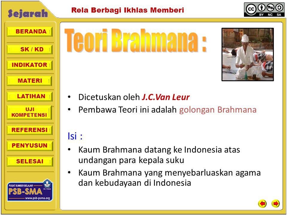 Teori Brahmana : Isi : Dicetuskan oleh J.C.Van Leur
