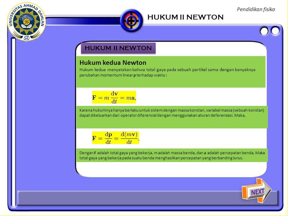 HUKUM II NEWTON Hukum kedua Newton NEXT HUKUM II NEWTON