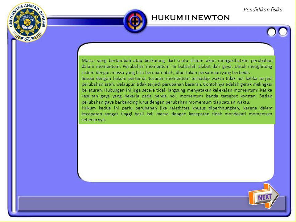 HUKUM II NEWTON NEXT Pendidikan fisika