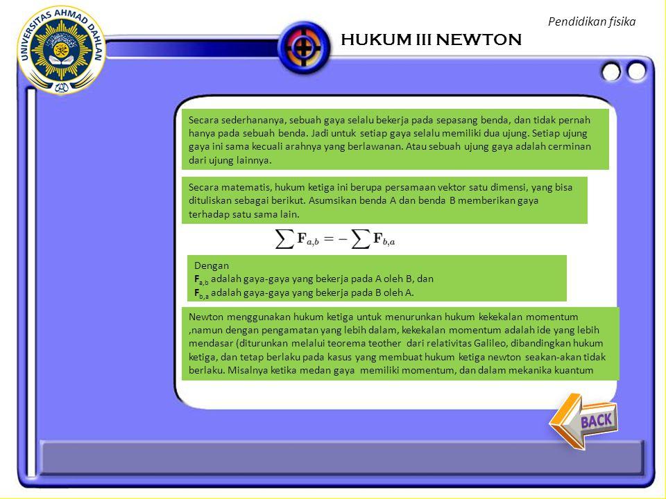 HUKUM III NEWTON BACK Pendidikan fisika