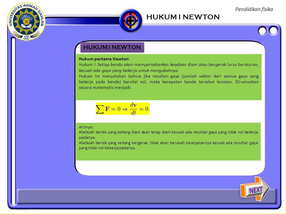 HUKUM I NEWTON NEXT Pendidikan fisika HUKUM I NEWTON