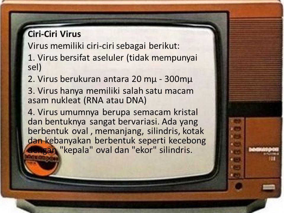 Ciri-Ciri Virus Virus memiliki ciri-ciri sebagai berikut: 1. Virus bersifat aseluler (tidak mempunyai sel)