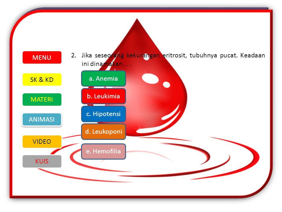 MENU 2. Jika seseorang kekurangan eritrosit, tubuhnya pucat. Keadaan ini dinamakan . . . a. Anemia.