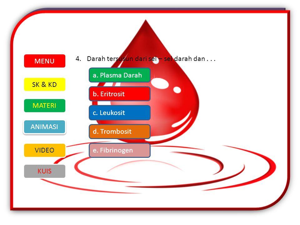 MENU Darah tersusun dari sel – sel darah dan . . . a. Plasma Darah. SK & KD. MATERI. VIDEO. ANIMASI.