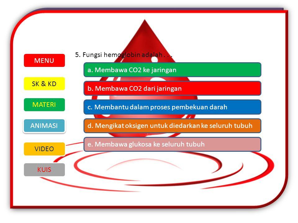 5. Fungsi hemoglobin adalah . . .