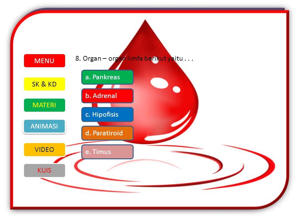MENU 8. Organ – organ limfa berikut yaitu . . . a. Pankreas. SK & KD. MATERI. VIDEO. ANIMASI. KUIS.