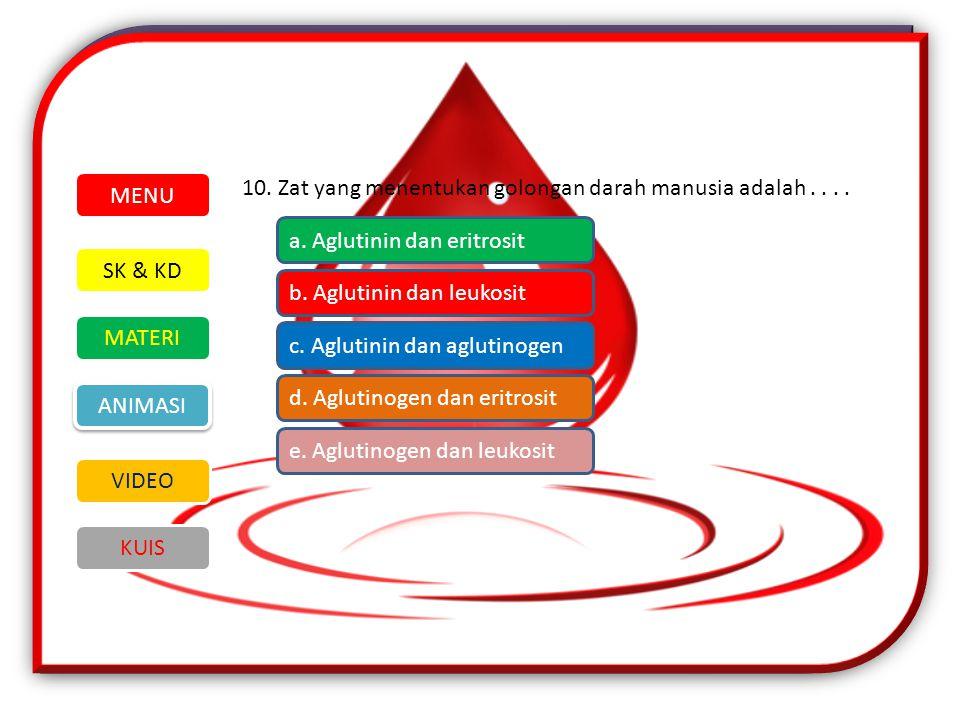 MENU 10. Zat yang menentukan golongan darah manusia adalah . . . . a. Aglutinin dan eritrosit. SK & KD.