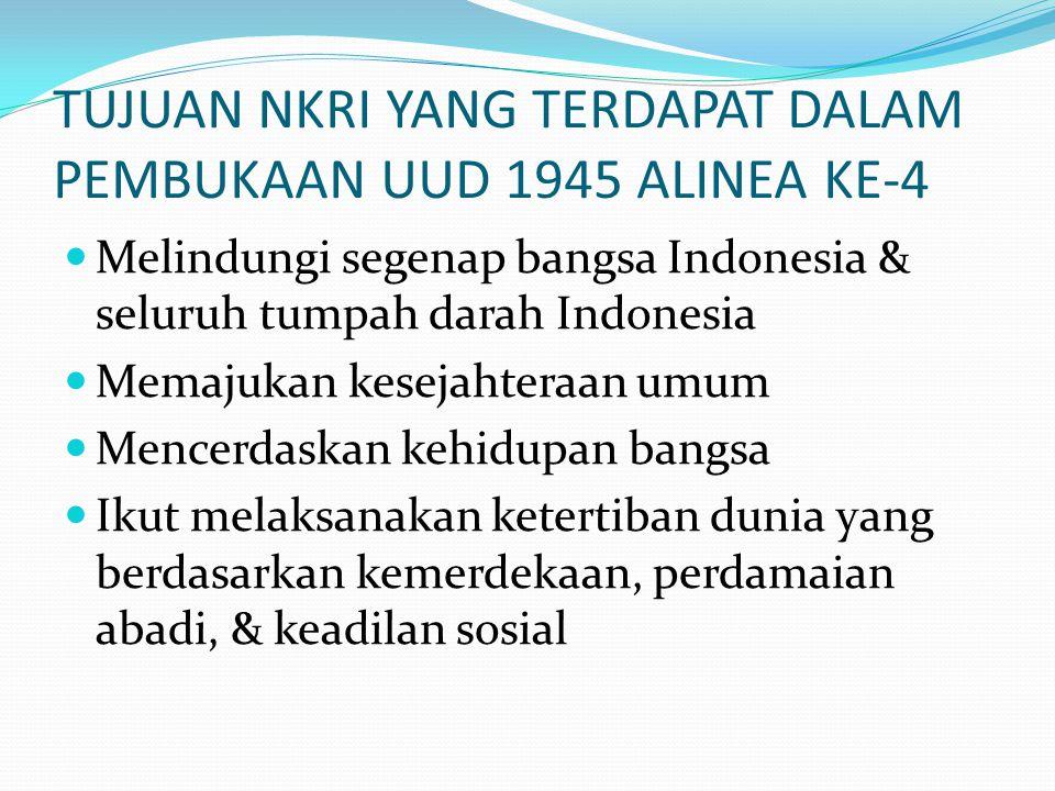 TUJUAN NKRI YANG TERDAPAT DALAM PEMBUKAAN UUD 1945 ALINEA KE-4