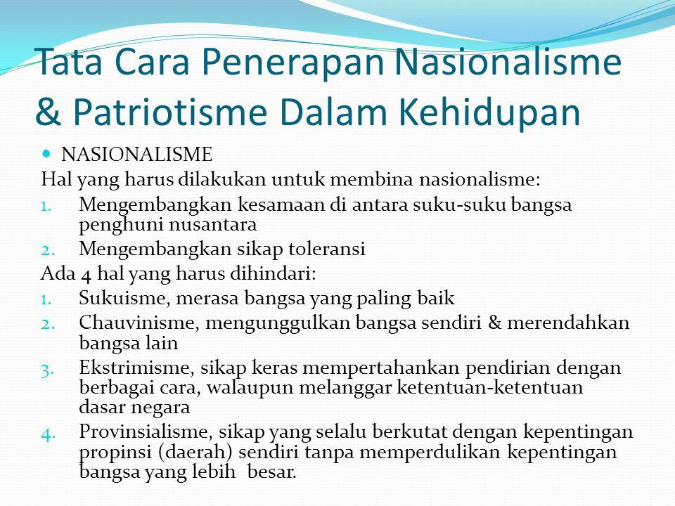 Tata Cara Penerapan Nasionalisme & Patriotisme Dalam Kehidupan