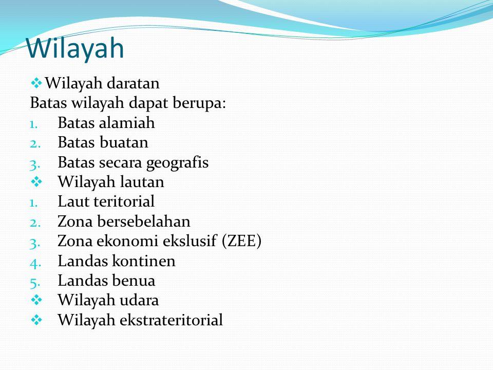 Wilayah Wilayah daratan Batas wilayah dapat berupa: Batas alamiah