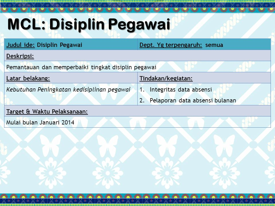 MCL: Disiplin Pegawai Judul ide: Disiplin Pegawai