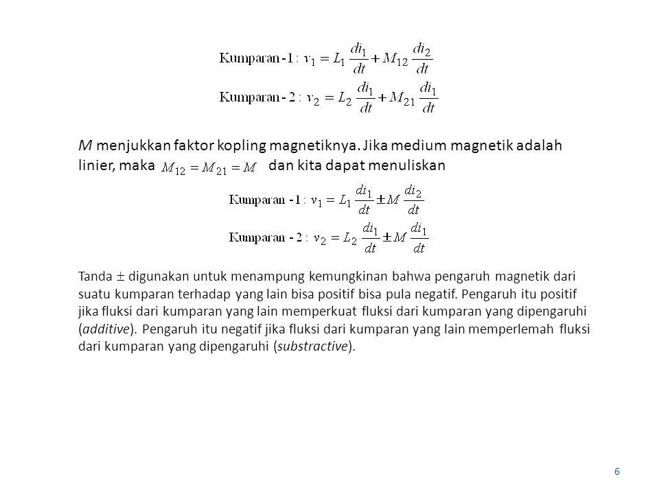 M menjukkan faktor kopling magnetiknya