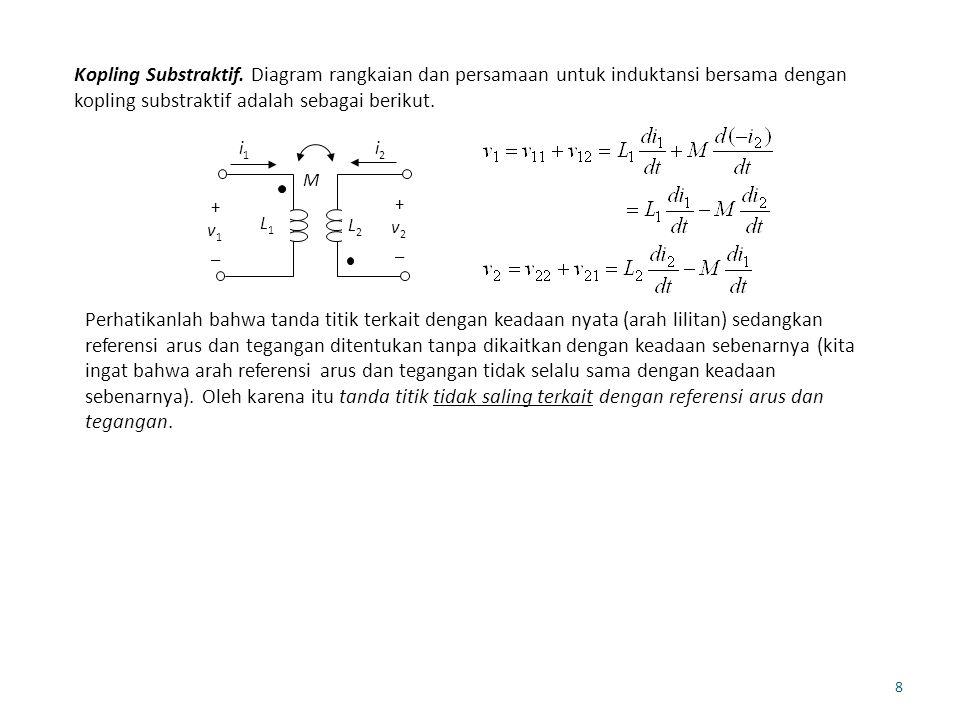 Kopling Substraktif. Diagram rangkaian dan persamaan untuk induktansi bersama dengan kopling substraktif adalah sebagai berikut.