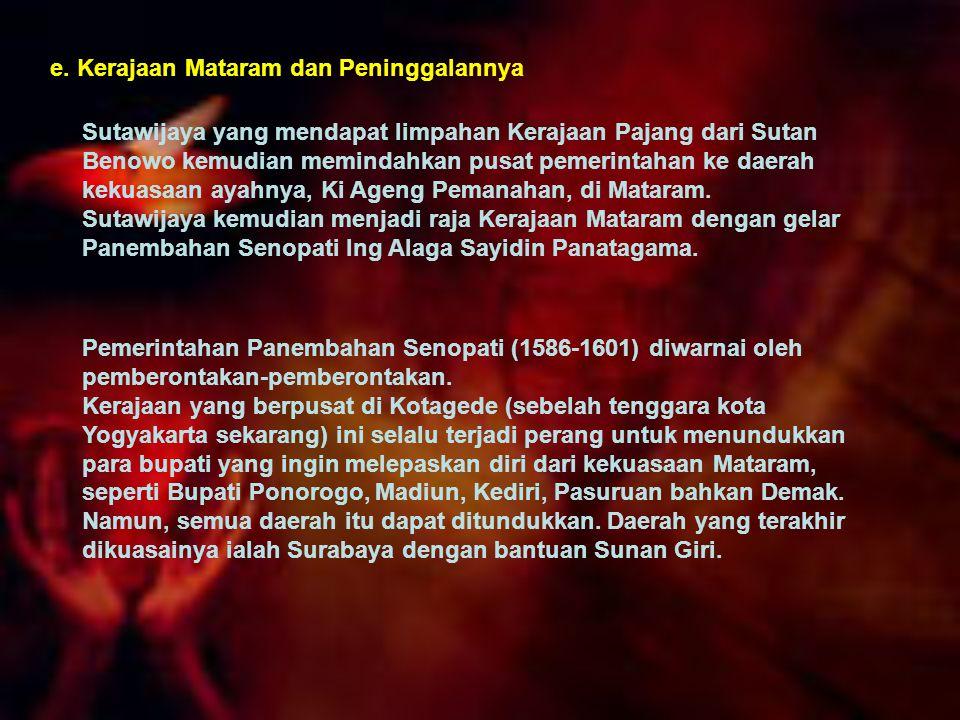 e. Kerajaan Mataram dan Peninggalannya