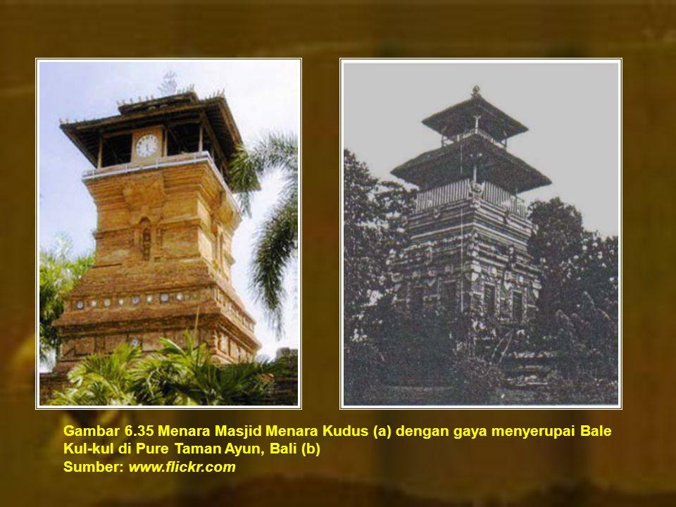 Gambar 6.35 Menara Masjid Menara Kudus (a) dengan gaya menyerupai Bale Kul-kul di Pure Taman Ayun, Bali (b)