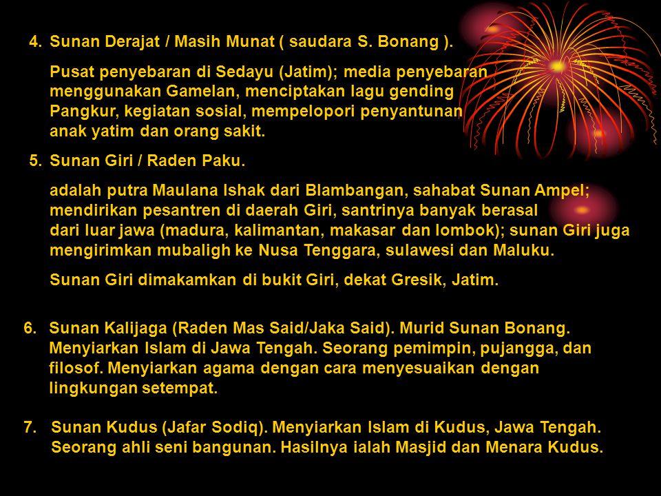4. Sunan Derajat / Masih Munat ( saudara S. Bonang ).