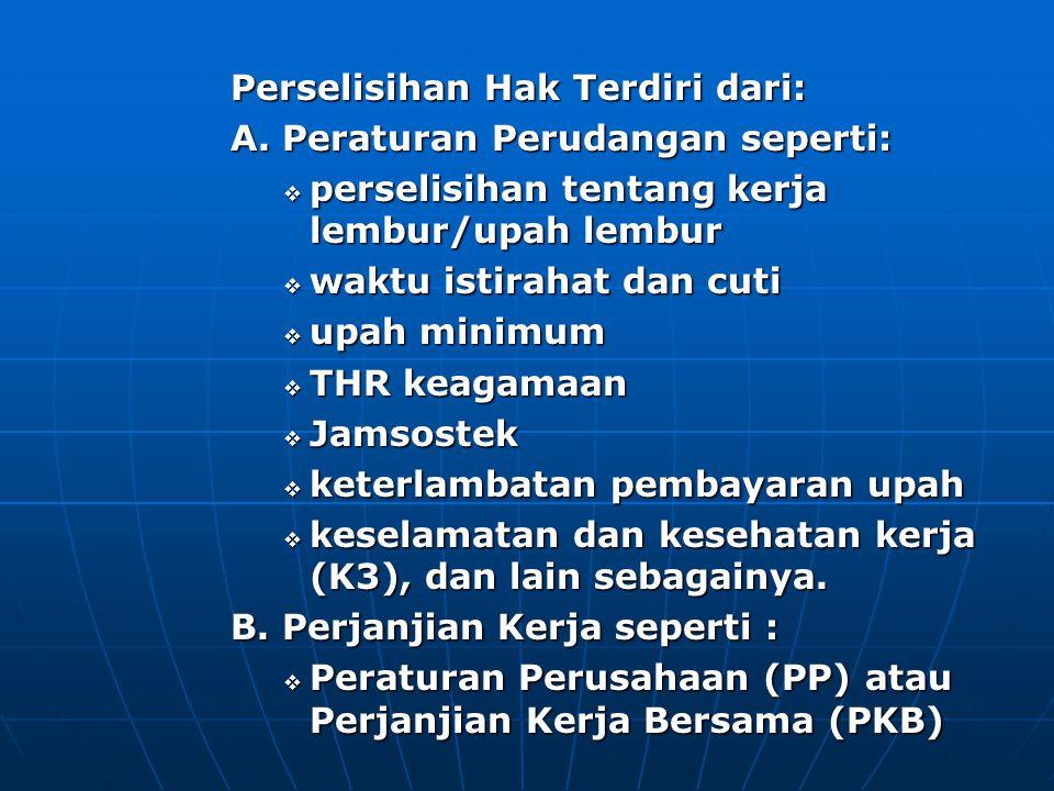 Perselisihan Hak Terdiri dari: