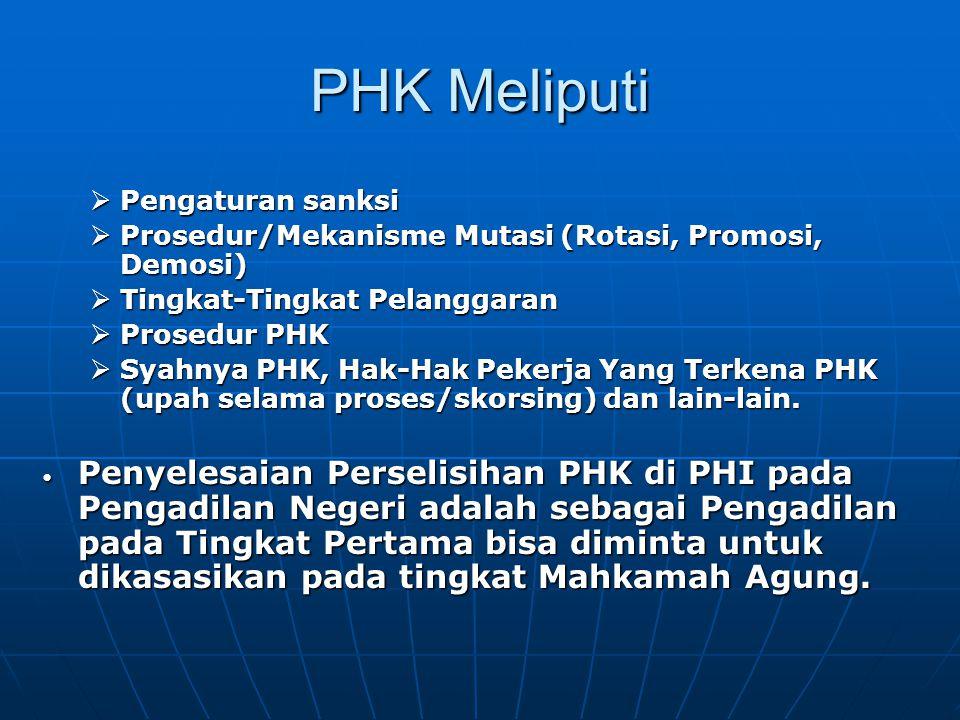 PHK Meliputi Pengaturan sanksi. Prosedur/Mekanisme Mutasi (Rotasi, Promosi, Demosi) Tingkat-Tingkat Pelanggaran.