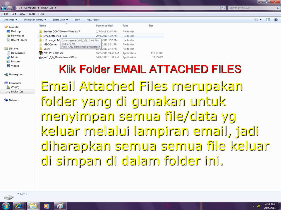 Klik Folder  ATTACHED FILES