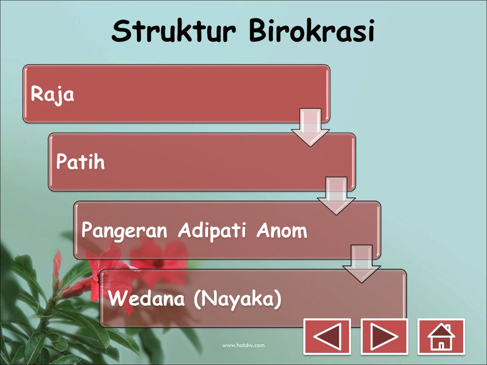 Struktur Birokrasi Raja Patih Pangeran Adipati Anom Wedana (Nayaka)